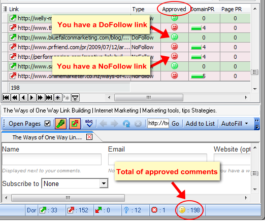 show approved comments in Fast Blog Finder