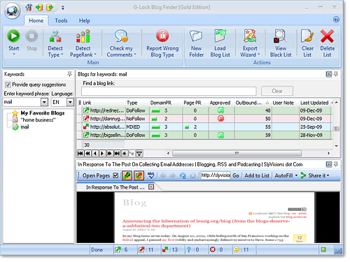 Click to view G-Lock Blog Finder 3.2.2 screenshot